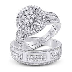 His Hers Round Diamond Cluster Matching Wedding Set 1-1/4 Cttw 10kt White Gold - REF-96H9R