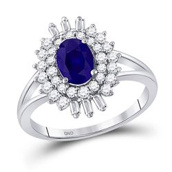 Womens Oval Blue Sapphire Diamond Solitaire Ring 1-1/3 Cttw 14kt White Gold - REF-53M5H