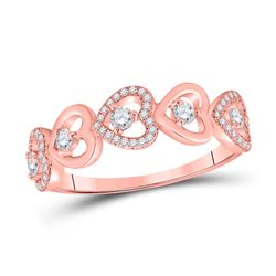 Womens Round Diamond Heart Band Ring 3/8 Cttw 10kt Rose Gold - REF-30W5K