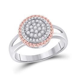Womens Round Diamond Rope Flower Cluster Ring 1/3 Cttw 10kt Two-tone Gold - REF-24F9W