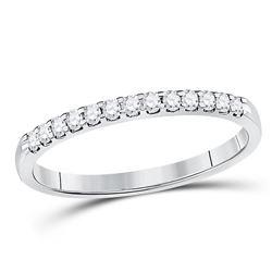 Womens Round Diamond Wedding Single Row Band 1/6 Cttw 14kt White Gold - REF-16R9X