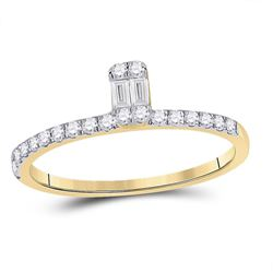 Womens Baguette Diamond Band Ring 1/4 Cttw 14kt Yellow Gold - REF-21F5W