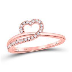 Womens Round Diamond Heart Ring 1/6 Cttw 10kt Rose Gold - REF-18H9R