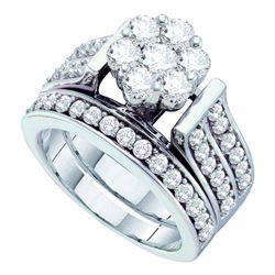 Round Diamond Cluster Bridal Wedding Ring Band Set 2 Cttw 14kt White Gold - REF-197M5H
