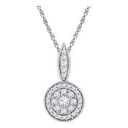 Womens Round Diamond Circle Frame Flower Cluster Pendant 1/3 Cttw 10kt White Gold - REF-19M5H