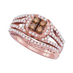 Womens Round Brown Diamond Bridal Wedding Ring Band Set 1 Cttw 10kt Rose Gold - REF-63N9F