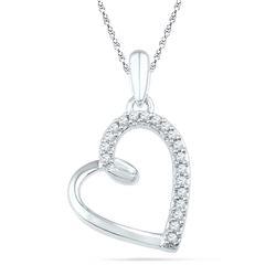 Womens Round Diamond Heart Outline Pendant 1/10 Cttw 10kt White Gold - REF-8Y5N