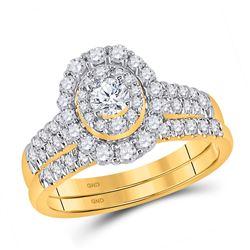 Round Diamond Bridal Wedding Ring Band Set 1 Cttw 10kt Yellow Gold - REF-65A5M