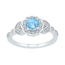 Womens Round Lab-Created Blue Topaz Solitaire Flower Ring 7/8 Cttw 10kt White Gold - REF-24K9Y