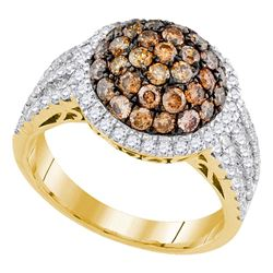 Womens Round Brown Diamond Circle Cluster Ring 2 Cttw 10kt Yellow Gold - REF-87F5W