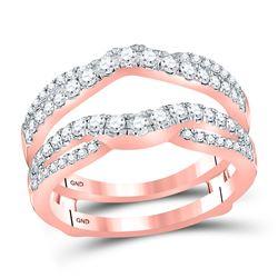 Womens Round Diamond Wedding Wrap Ring Guard Enhancer 5/8 Cttw 14kt Rose Gold - REF-63R9X