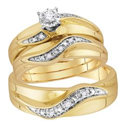 His Hers Round Diamond Solitaire Matching Wedding Set 1/6 Cttw 10kt Yellow Gold - REF-39A9M