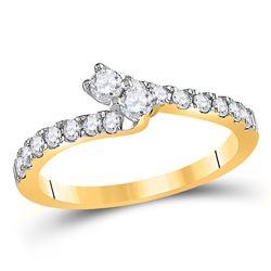 Round Diamond 2-stone Bridal Wedding Engagement Ring 1/2 Cttw 14kt Yellow Gold - REF-42W5K