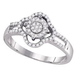Womens Round Diamond Cluster Ring 1/4 Cttw 10kt White Gold - REF-14M9H
