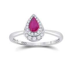 Womens Pear Ruby Diamond Teardrop Halo Solitaire Ring 3/4 Cttw 14kt White Gold - REF-24F5W