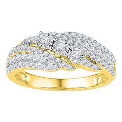 Womens Round Diamond 3-stone Ring 1/2 Cttw 10kt Yellow Gold - REF-30H5R