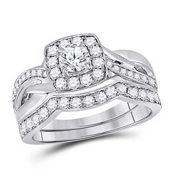 Round Diamond Bridal Wedding Ring Band Set 1 Cttw 14kt White Gold - REF-101X5A