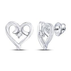 Womens Round Diamond Heart Earrings 1/20 Cttw 10kt White Gold - REF-10F5W