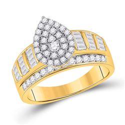 Round Diamond Teardrop Bridal Wedding Engagement Ring 1 Cttw 10kt Yellow Gold - REF-49W9K