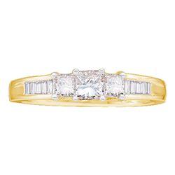 Princess Diamond 3-stone Bridal Wedding Engagement Ring 1/2 Cttw 14kt Yellow Gold - REF-54M5H