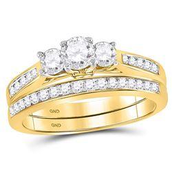 Round Diamond Bridal 3-Stone Wedding Engagement Ring Band Set 1 Cttw 14kt Yellow Gold - REF-107K9Y