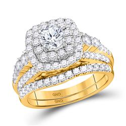 Round Diamond Bridal Wedding Ring Band Set 2 Cttw 14kt Yellow Gold - REF-219X5A