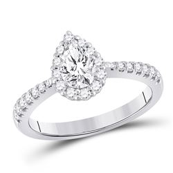 Pear Diamond Solitaire Bridal Wedding Engagement Ring 1 Cttw 14kt White Gold - REF-170W9K