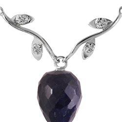 Genuine 12.92 ctw Sapphire & Diamond Necklace 14KT White Gold - REF-42R2P