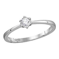 Womens Round Diamond Solitaire Ring 1/8 Cttw 10kt White Gold - REF-15K5Y