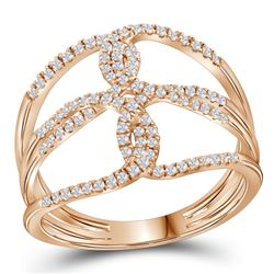 Womens Round Diamond Entwined Negative Space Fashion Ring 1/4 Cttw 10kt Rose Gold - REF-20A5M