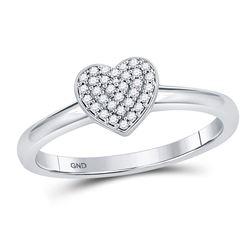 Womens Round Diamond Heart Cluster Ring 1/10 Cttw 10kt White Gold - REF-13M5H
