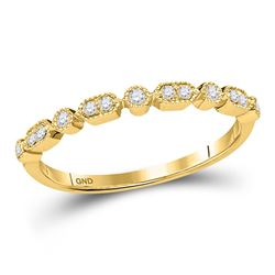 Womens Round Diamond Stackable Band Ring 1/8 Cttw 10kt Yellow Gold - REF-13H9R
