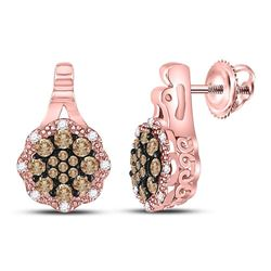 Womens Round Brown Diamond Cluster Earrings 1/2 Cttw 14kt Rose Gold - REF-38R9X
