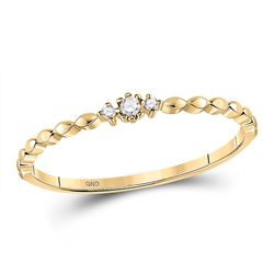 Womens Round Diamond Stackable Band Ring .03 Cttw 10kt Yellow Gold - REF-5N9F