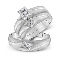 His Hers Round Diamond Cluster Matching Wedding Set 1/5 Cttw 10kt White Gold - REF-27H9R