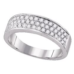 Womens Round Diamond Pave Band Ring 1/2 Cttw 10kt White Gold - REF-34F5W