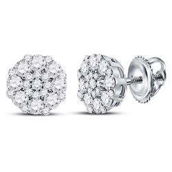 Womens Round Diamond Octagon Cluster Earrings 5/8 Cttw 14kt White Gold - REF-36X9A