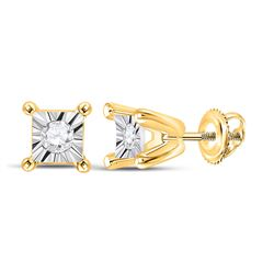 Womens Round Diamond Solitaire Stud Earrings 1/20 Cttw 10kt Yellow Gold - REF-6F5W