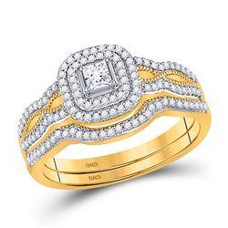 Princess Diamond Bridal Wedding Ring Band Set 3/8 Cttw 10kt Yellow Gold - REF-38A9M