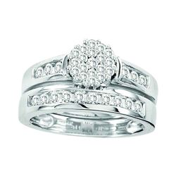 Round Diamond Cluster Bridal Wedding Ring Band Set 3/4 Cttw 14kt White Gold - REF-79H5R