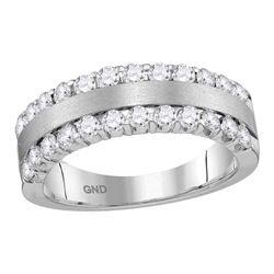 Womens Machine-Set Round Diamond Band Ring 1 Cttw 14kt Brushed White Gold - REF-74N5F
