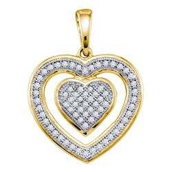 Womens Round Diamond Nested Heart Pendant 1/5 Cttw 10kt Yellow Gold - REF-14F9W