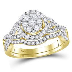 Round Diamond Bridal Wedding Ring Band Set 1 Cttw 14kt Yellow Gold - REF-74F9W