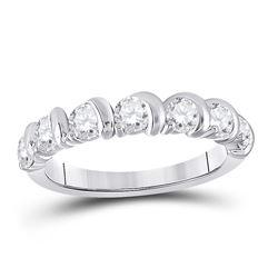 Womens Round Diamond Band Ring 1 Cttw 14kt White Gold - REF-104K9Y