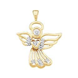 Womens Round Diamond Guardian Angel Pendant 1/10 Cttw 10kt Yellow Gold - REF-7X5A