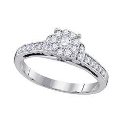 Round Diamond Cluster Bridal Wedding Engagement Ring 1/2 Cttw 10kt White Gold - REF-40M9H
