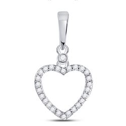 Womens Round Diamond Heart Outline Pendant 1/12 Cttw 10kt White Gold - REF-6F5W