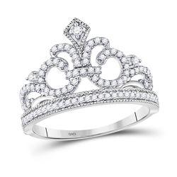 Womens Round Diamond Fleur Crown Tiara Fashion Ring 1/5 Cttw 10kt White Gold - REF-15N9F