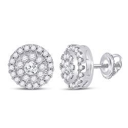 Womens Round Diamond Halo Earrings 1/2 Cttw 10kt White Gold - REF-32N5F