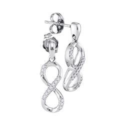 Womens Round Diamond Infinity Dangle Earrings 1/10 Cttw 10k White Gold - REF-13X9A